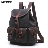 NIYOBO New Canvas Women Backpack School girls student Back Pack Ladies String Laptop Bag Female Travel Rucksacks Mochila