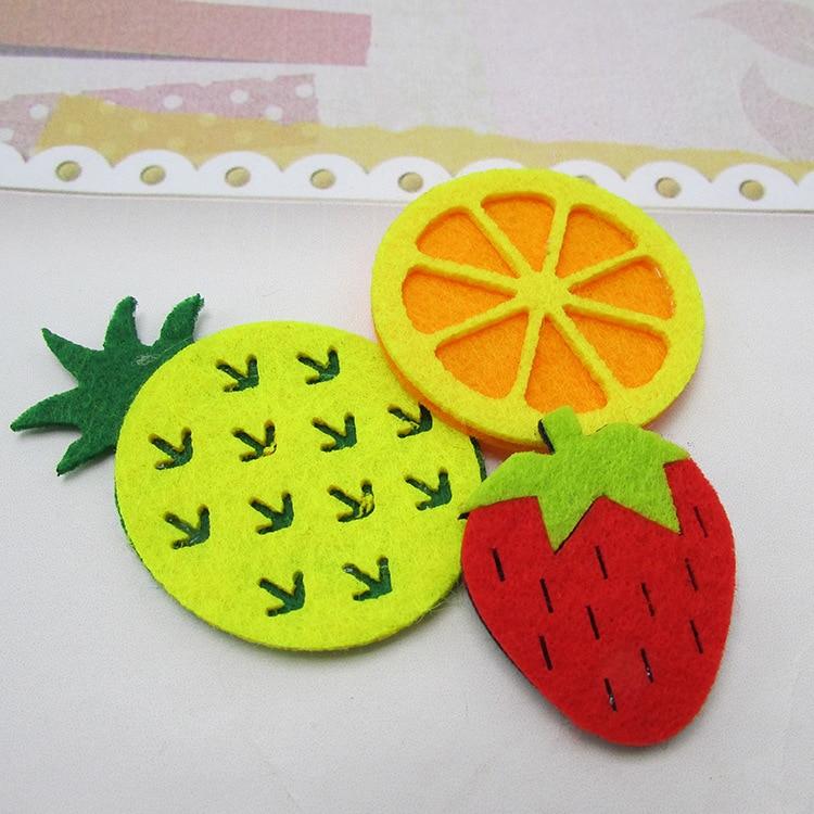 Length about 4.5cm strawberry lemon pineapple felt cloth hair accessories 10 pieces,DIY handmade materials,10Y50340