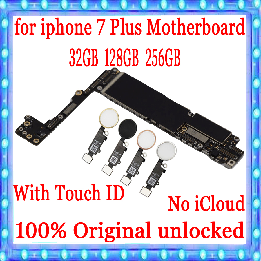 Factory unlocked for iphone 7 Plus Motherboard With Touch ID,100% Original for iphone 7 Plus 7P Logic board 32GB / 128GB / 256GB