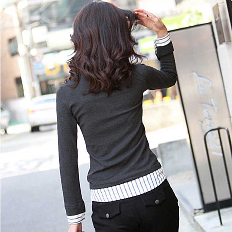 2017 осенние и зимние свитер большие размеры женская рубашка воротник Вязаные свитеры Классическая рубашка Женский искусственного комплект из двух предметов Топы Длинные рукава