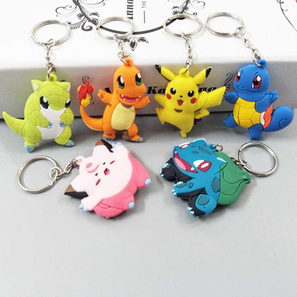 3D Anime Pokemon Go llavero Pikachu bolsillo Monsters llavero colgante Mini Charmander retorcido Eevee figuras Vulpix