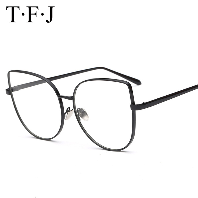 968473d572d23 TFJ Retro 3 Colors Women Cat Eye Glasses Frame Brand Designer Fashion Men  Metal Frame Clear Lens Eyeglasses
