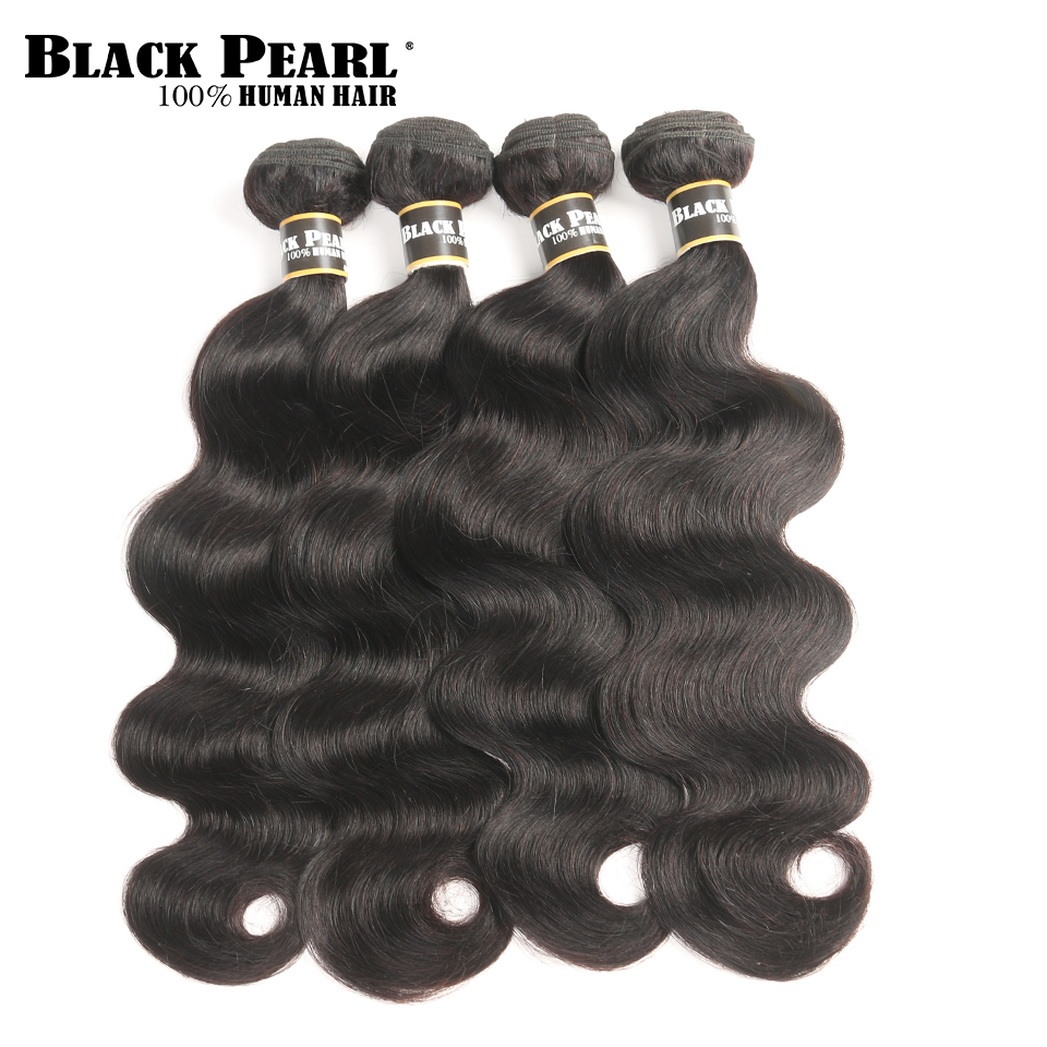 Black Pearl Peruvian Body Wave Hair Extensions 100% Non-Remy Human Hair Bundles Natural Color 8-26 Inch 4 Bundles  Free Shipping