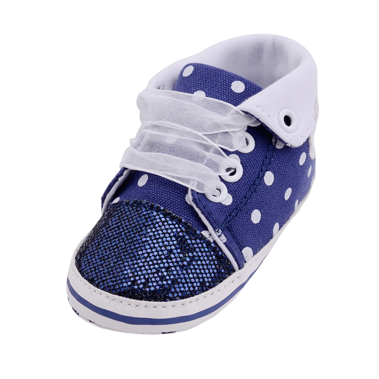 Infant Newborn Baby Girls Boy Glitter Polka Dots Autumn Lace-Up First Walkers Sneakers Shoes Adorable RibbonToddler Canvas Shoes 22