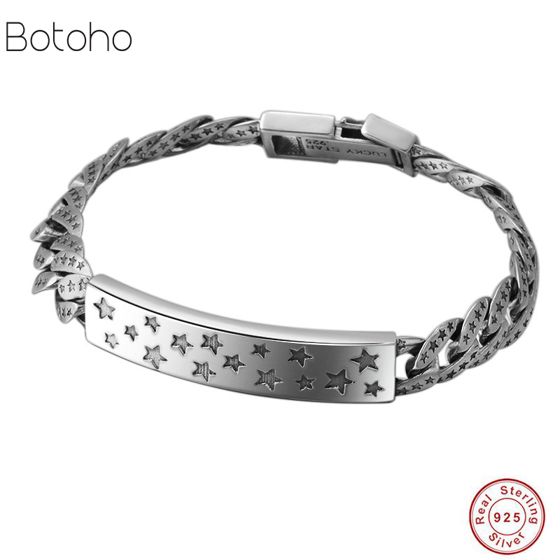 Bracelet 925 sterling charm Men's bracelet Retro Thai silver bracelet stars domineering men Solid 925 sterling silver men 2018 2018 thai silver jewelry 925 sterling silver men bracelet male domineering personality retro fashion chain link charm bracelet