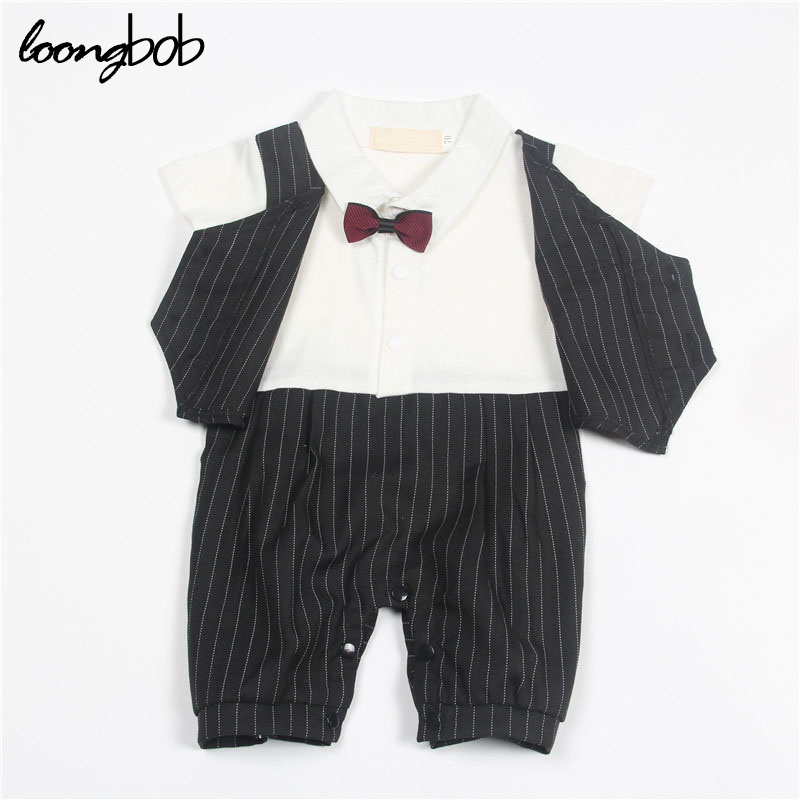 Newborn Baby Boy Clothes Gentleman Style Clothing Kids Summer Short Sleeved Suits Boys Tuxedo Black Gray Bow Tie Striped Romper gentleman baby boy clothes black coat striped rompers clothing set button necktie suit newborn wedding suits cl0008