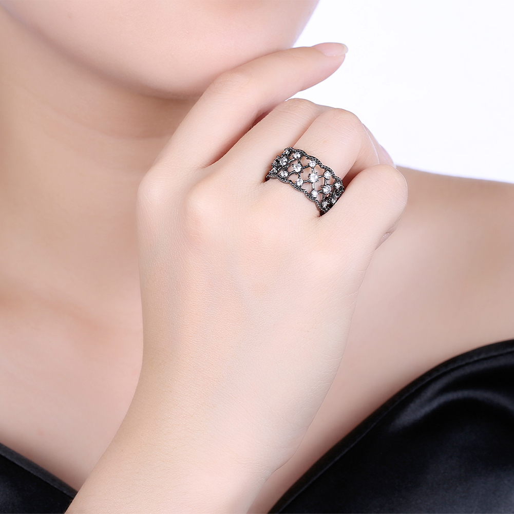 11mm Wide Ring Men Luxury 4 Claws Prong Setting Cubic Zircon Black ...