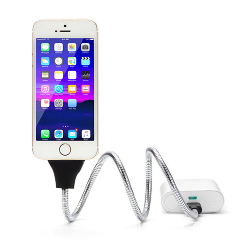 Phone Charger Palm Bracket Holder Flexible Stand UP USB Charging Data Cable For IPhone Android Smartphones