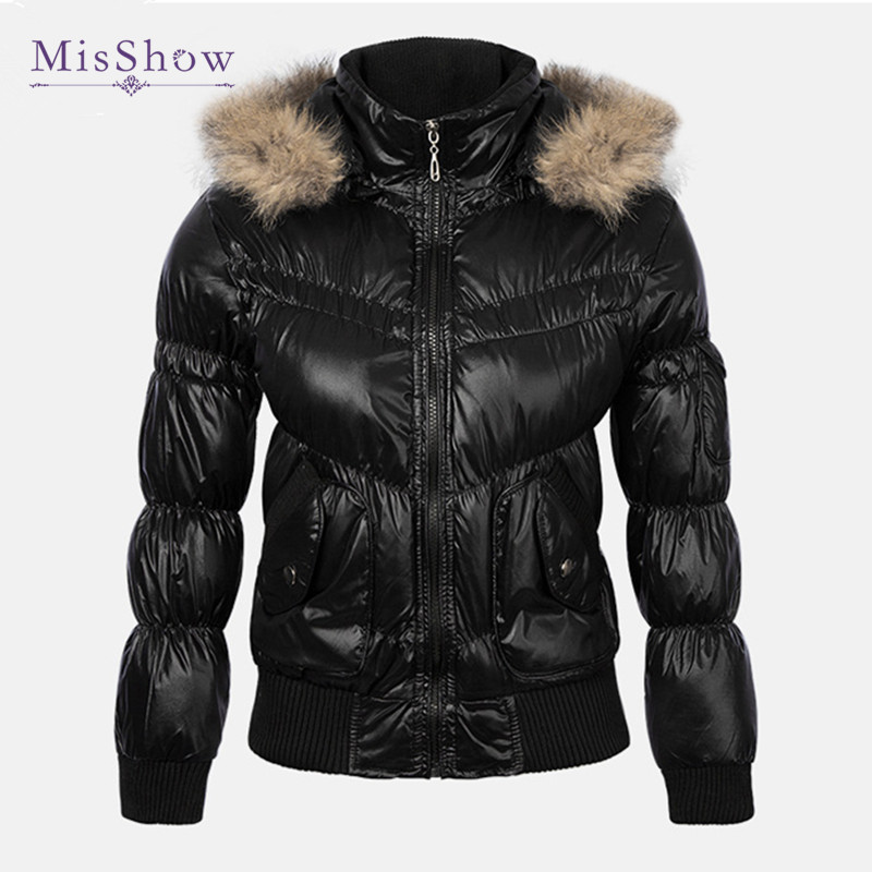 MisShow New Basic Women Winter Faux Fur Hooded Short Coat Female Outerwear   Parka   2XL Cotton Warm jacket jaqueta feminina