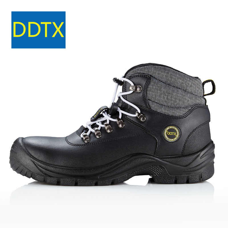 ef10f9bf2284 ... DDTX Steel Toe Safety Boots Shoes Men Anti Puncture SBP Genuine Leather Work  Boots Water Proof ...