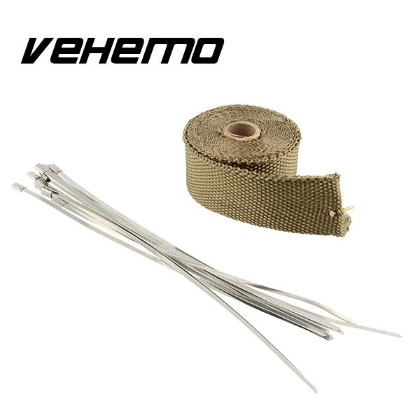 Vehemo 2x5m Temp Exhaust Heat Wrap Army Green Heater Resistant Downpipe 10 Ties New Car Tape Replacement For BMW HONDA YAHAMA