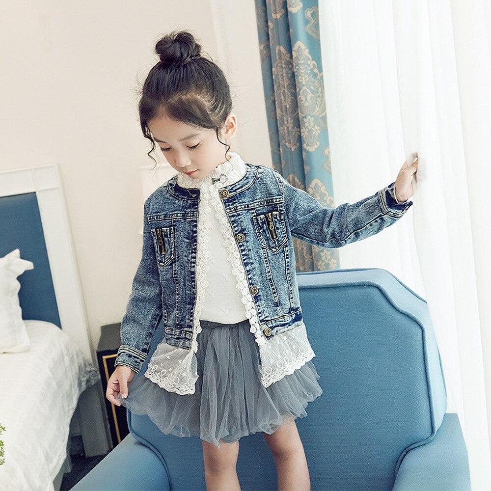 Boutique chico chica Denim trajes de moda de encaje de las niñas chaqueta de mezclilla con la de la ropa de los niños prendas de vestir exteriores y abrigo