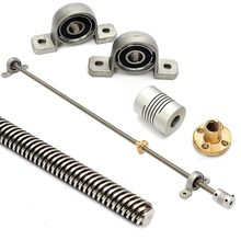 T8 Lead Screw Kit 500mm Lead 8mm vertical Lead Screw Rod & Pillow Block Mounted Bearing for 3D Printer