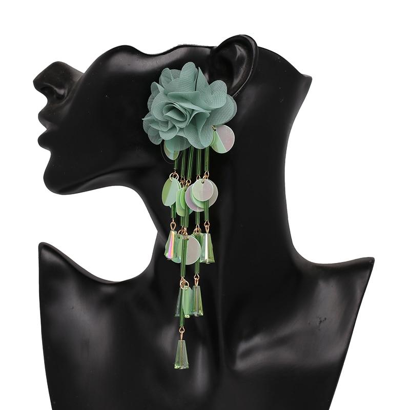JUJIA Bohemian Long Flower Earrings Pom Pom Big Statement Earrings Fringe Drop Earrings Women Jewelry 23