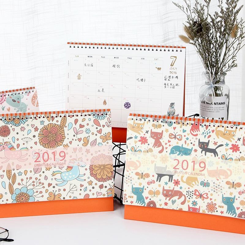 Folding House Flower Deer 2019 Desk Calendar Memo Planner Storage Container Fashionable Patterns Calendar
