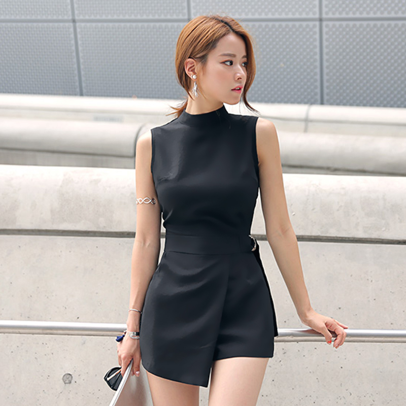 Elegant Belted Slim Playsuits Women Short Jumpsuit Stand Collar Sleeveless Irregular Lap Sexy Romper Overalls Brand New 2019