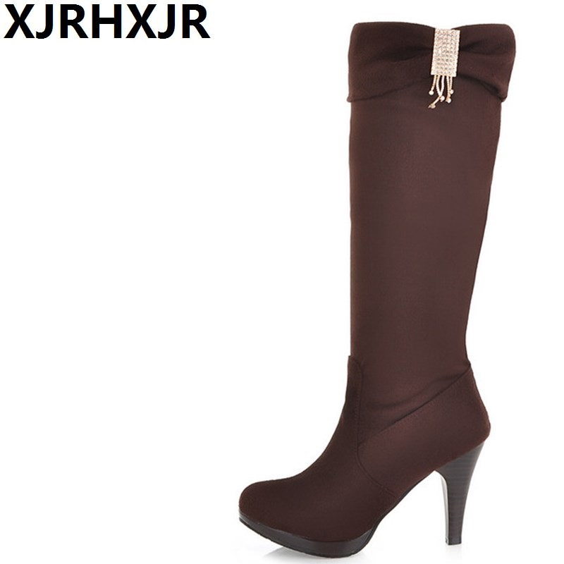 Womens Shoes Gladiator High-heeled Boots Elastic Winter Scrub Long Boots Fashion Knee-high Thin Heels Boots Large Size 34-43