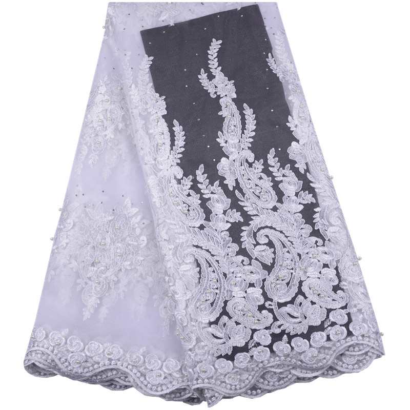 Pure White High Quality African Tulle Lace Fabric French Net Lace Fabric Nigeria Lace Fabric For