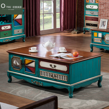 American-style coffee table tea retro to do the old long with drawers small apartment village Blue teasideend
