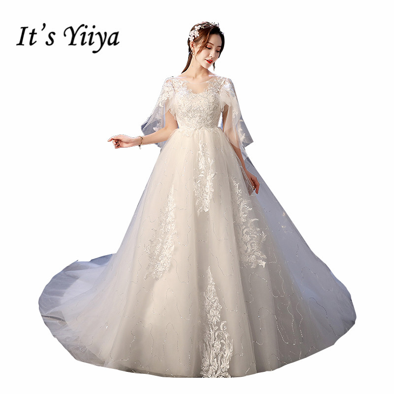 It's YiiYa Wedding Dress O-neck Batwing Sleeve Train Wedding Dresses Embroidery Lace Up Backless White Bridal Gowns XXN236