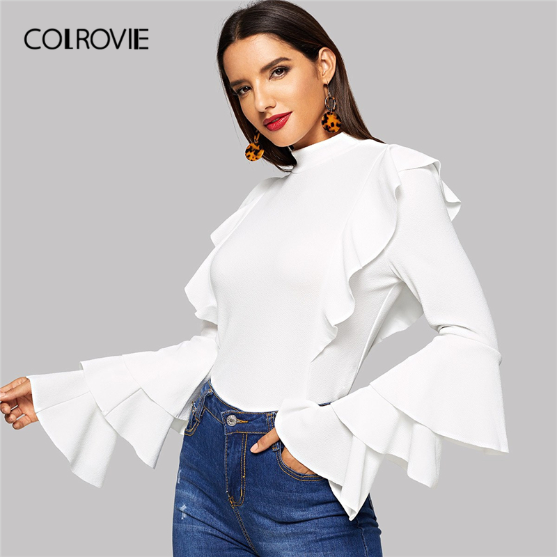 COLROVIE White Solid Stand Collar Ruffle Trim Elegant Blouse Shirts Women 2019 Spring Layered Sleeve Fitted Party Ladies Tops