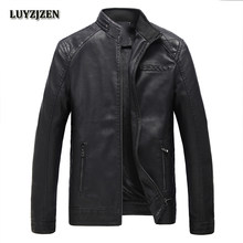 Autumn Winter Motorcycling pu Leather Jackets Faux Leather Jacket Mens Black Clothing Fashion Elastic Motorcycle Outerwear 304(China)