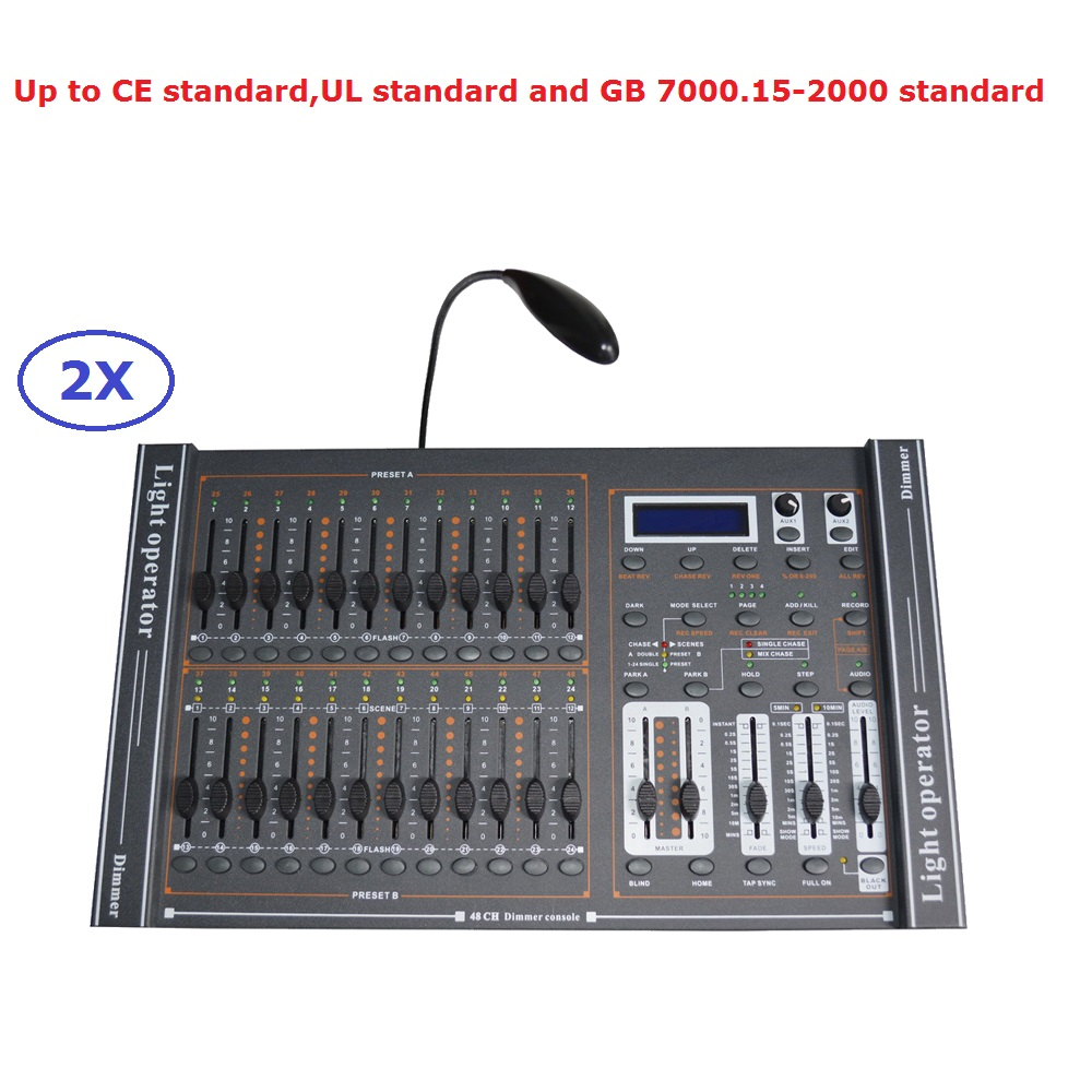 2XLot Factory Sales 48 Channel Dimmer Console DJ Equipments 48CH DMX512 Dimmer Controller DC9V 1000mA For Professional Shows dmx512 digital display 24ch dmx address controller dc5v 24v each ch max 3a 8 groups rgb controller
