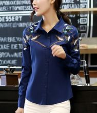 Fashion Cotton Women Blouses Retro Contrast Colour Embroidery Print Lady Shirts Female All Match Top And blouseLBCH8158