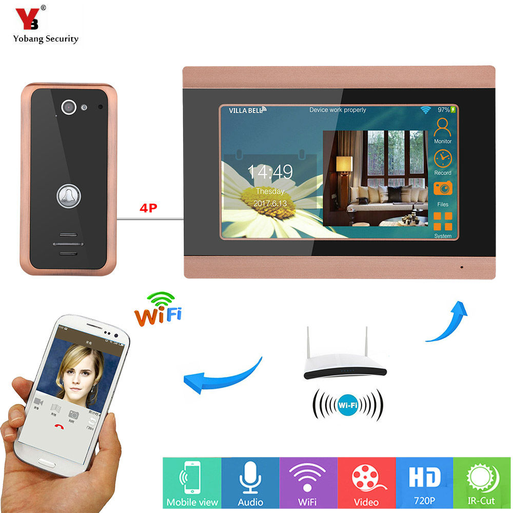 Yobang Security 7inch Wired Wifi Video Door Phone Doorbell Intercom Entry System with Wired Camera Support Remote APP intercom