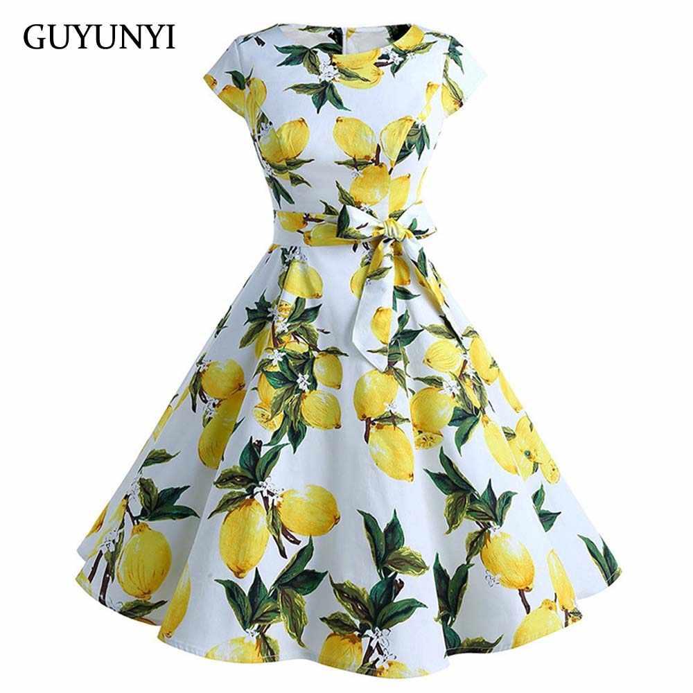 2020 Zomer Vintage Jurken Lemon Print Bloemen Knielange Een Lijn O Nek 1950 S Stijl Elegante Partij Jurk CX819