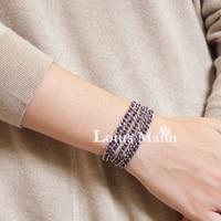 фиолетовый 100% хлопок трикотажные цепи нержавеющая сталь 5 обертывания ультра долго браслет ожерелье