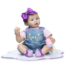 22 Inch Lifelike Silicone Reborn Baby Dolls For Girls House Playmate Real Looking Newborn Baby Dolls