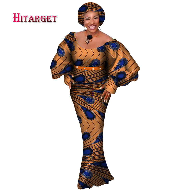 Hitarget African Women 3 Pieces Sets Dashiki Cotton Print Wax Crop Top Skirt Set Head Scarf african clothing customizable WY3770 in Africa Clothing from Novelty Special Use