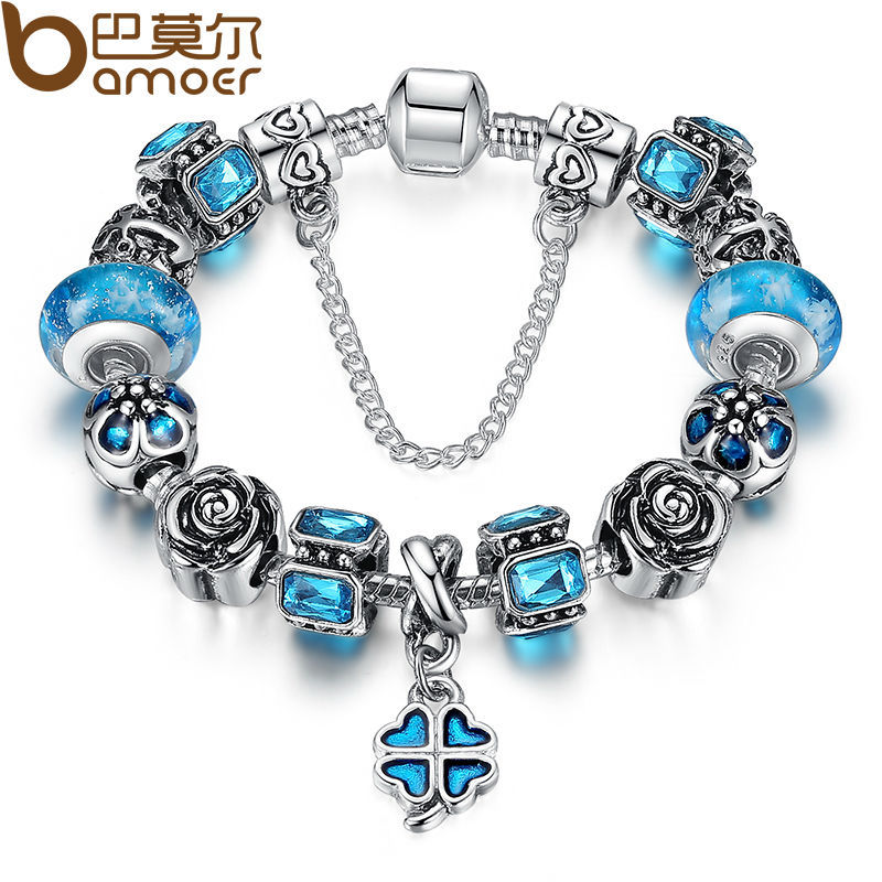5d828d09318 BAMOER Antique Silver Blue Charm Bracelet With Exquisite Leaf Clover  Pendant Authentic Safety Chain Jewelry PA1860