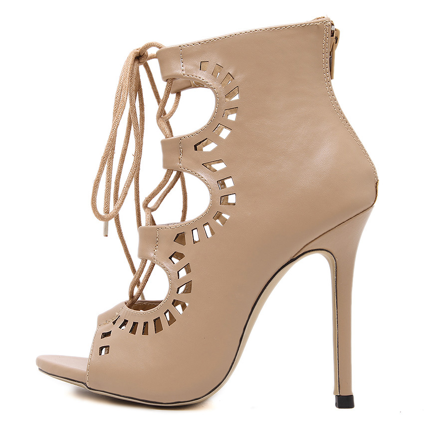 New fashion lace up women high heels sandals summer shoes woman party wedding ladies girl peep toe Gladiator cut-out sandals
