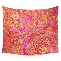 Hot Pink And Gold Baroque Floral Pattern Wall Tapestry Wall Hanging Throw Bohemian Door Curtain