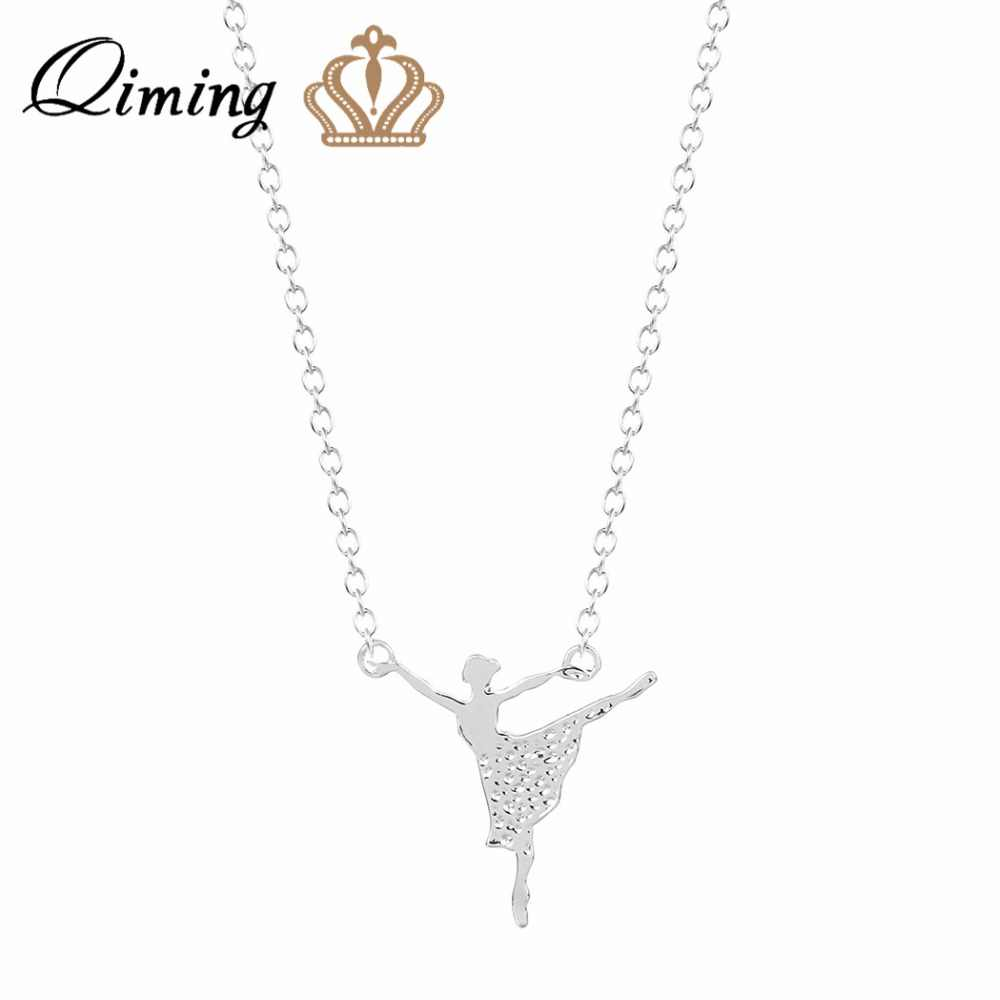 QIMING Minimalist Jewelry Gold Unique Ballerina Girls Charm Necklace for Women Ballet Dance Girl Pendant Necklace Collier