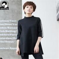 Summer 2019 Long T Shirt Women Tops Half Sleeve O neck Brand Design Tees Shirt Stripe Print T shirt Female Camisetas Mujer