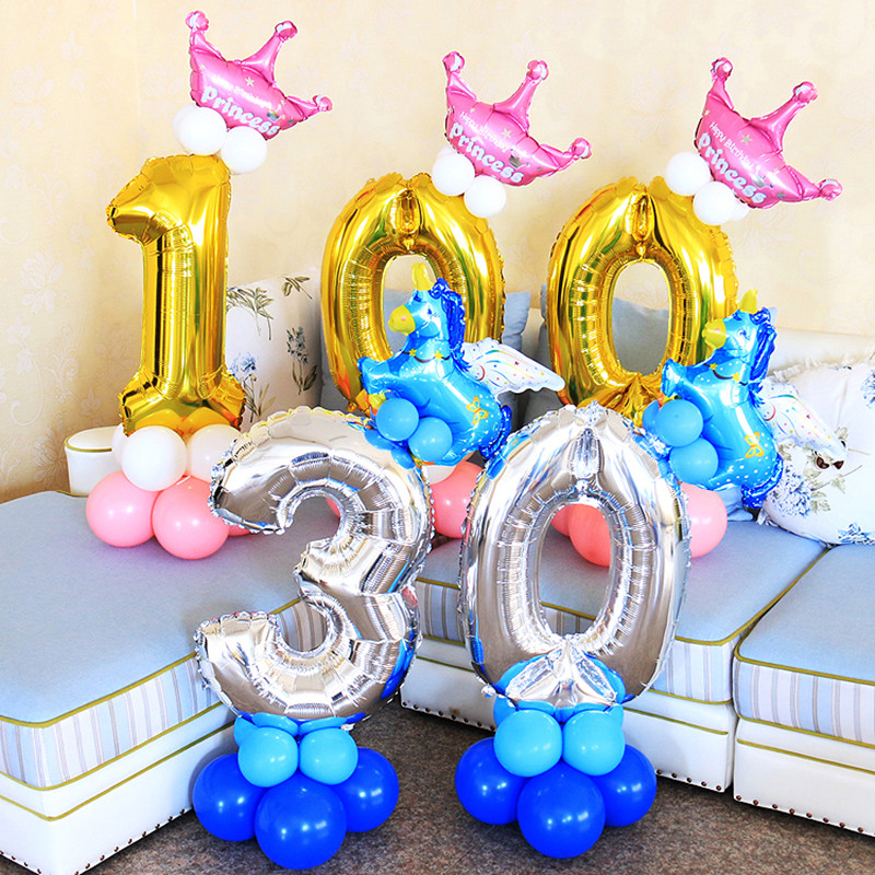 30 inches Gold Silver Number 0-9 Foil balloons birthday party decorations kids balloon pillar baby shower event party supplies