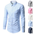 100% Cotton Men's Dress Shirt 2017 Hot Men's Slim Fit Long Sleeve Shirts Chemise Homme Camisas Mens Clothing Solid  Dress Shirts