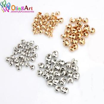 цена OlingArt 4MM 150pcs/lot Ordinary Silver plated/Gold Plated Alloy Crimp Beads Round Covers DIY Jewelry Making Accessor онлайн в 2017 году