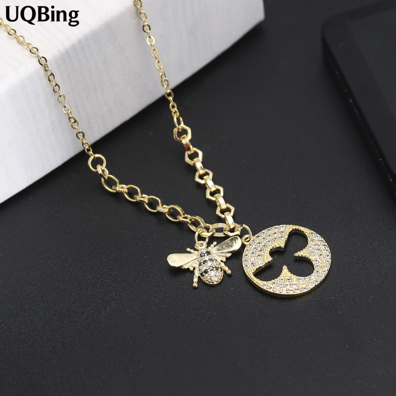 High Quality 925 Sterling Silver Rhinestone Bee Necklace&Pendant Jewelry Wholesale Women Silver Necklace Jewelry ying vahine 925 sterling silver jewelry shiny stars pendant necklace
