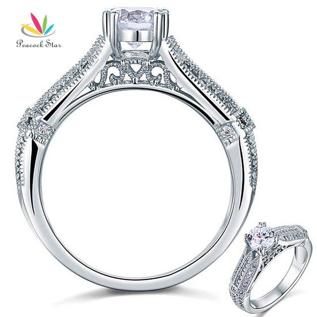 Павлин Star Vintage Style 1 Ct Создания Алмазный Solid Стерлингового Серебра 925 Люкс Свадебные Обещание Обручальное Кольцо Ювелирные Изделия CFR8109