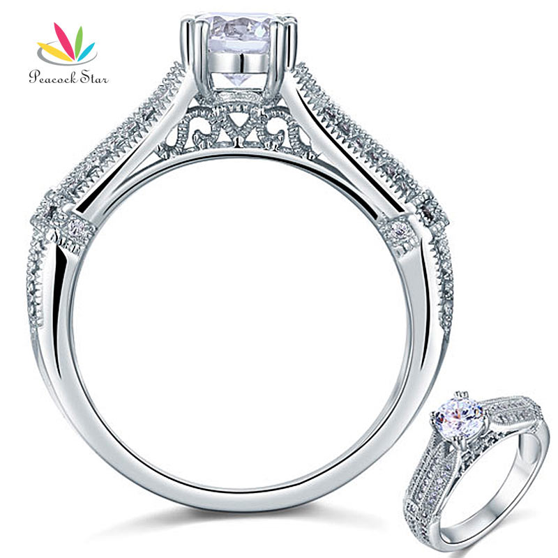 Peacock Star Vintage Style 1 Ct Solid 925 Sterling Silver Bridal Wedding Promise Engagement Ring Jewelry CFR8109