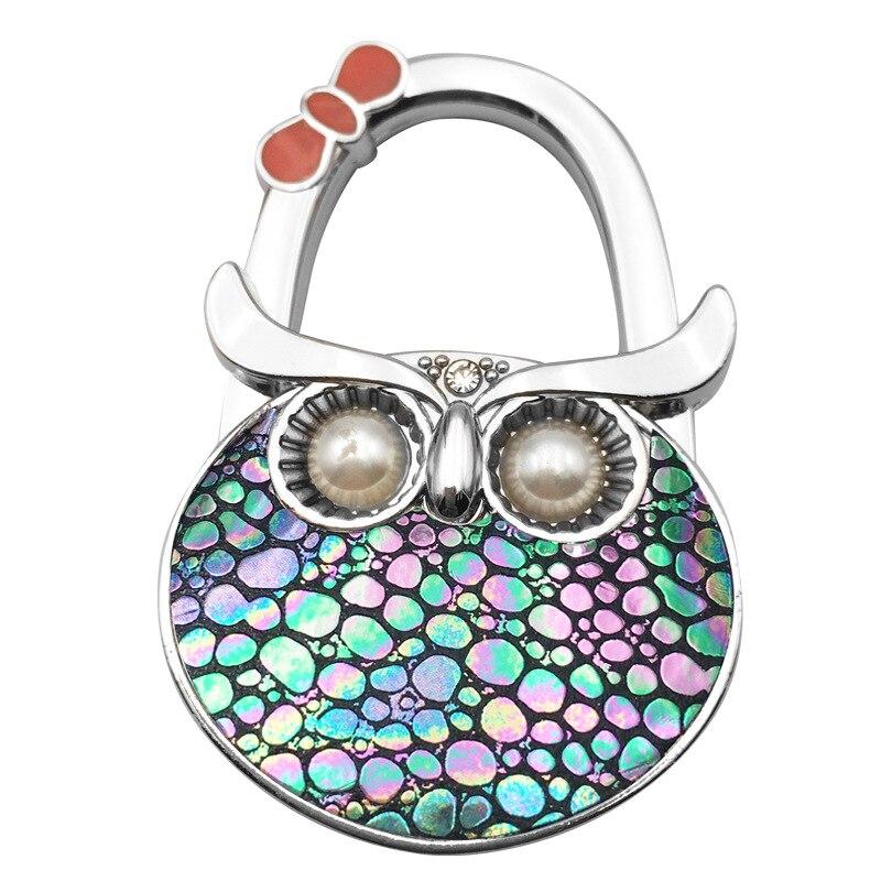 25PCS / LOT For Hanging Crystal Alloy Owl Magic Hooks Desk Bag Hook Fashion Creative Metal Folding Bag Buckle