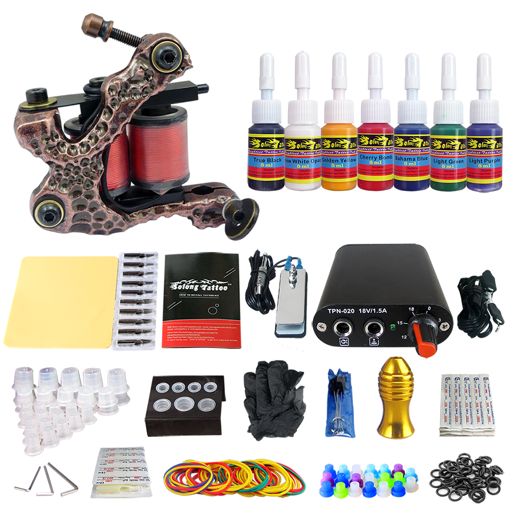 Hybrid Complete Tattoo Coil Machine Kit For Liner Shader Power Supply Foot Pedal Needles Grip Tips Tattoo Body&Art TK105-9Hybrid Complete Tattoo Coil Machine Kit For Liner Shader Power Supply Foot Pedal Needles Grip Tips Tattoo Body&Art TK105-9