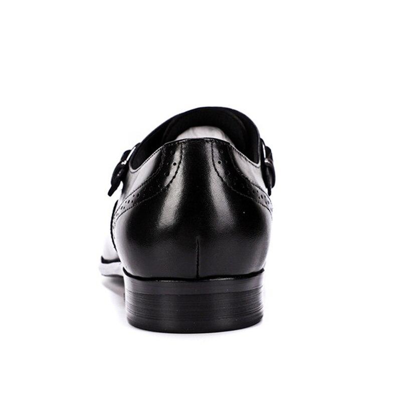 Atmungs Schwarzes brown Echtem Wohnungen Vintage Formale Leder Sommer Riemen Brogue Männer Ss314 Schuhe Mann Handgemachte Neue Kleid Schnalle qUCw4qv