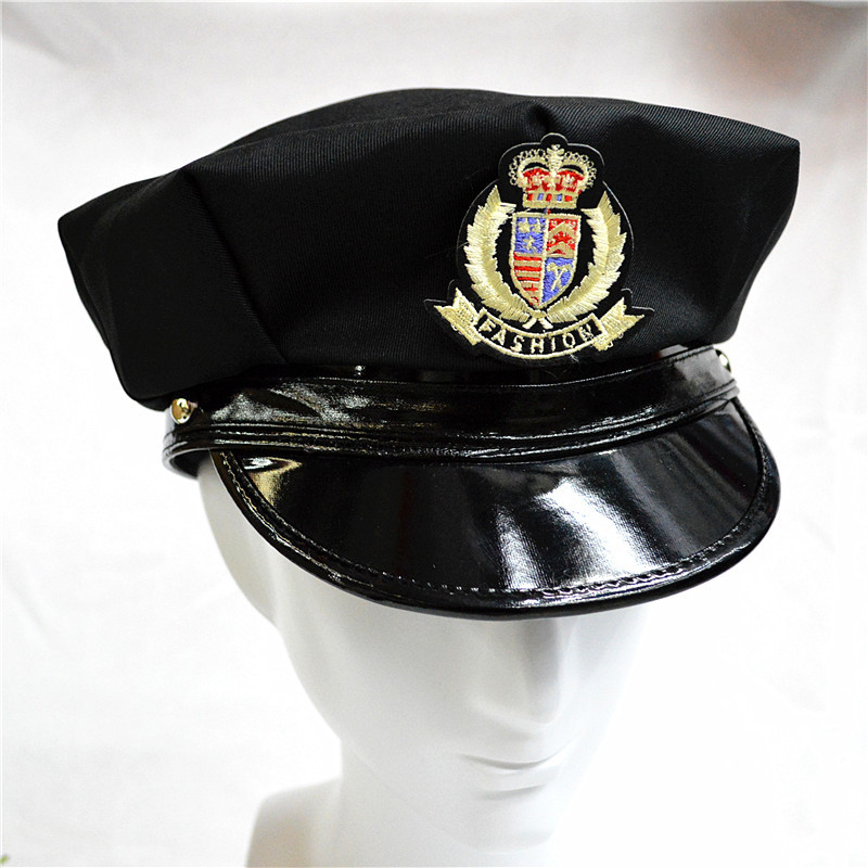 599ce88ed9bad 2017 New Unisex Badge Octagonal Military Hat Flat Top Police Cap America  Captain Hat Stage Performance Hats For Men And Women-in Military Hats from  Apparel ...
