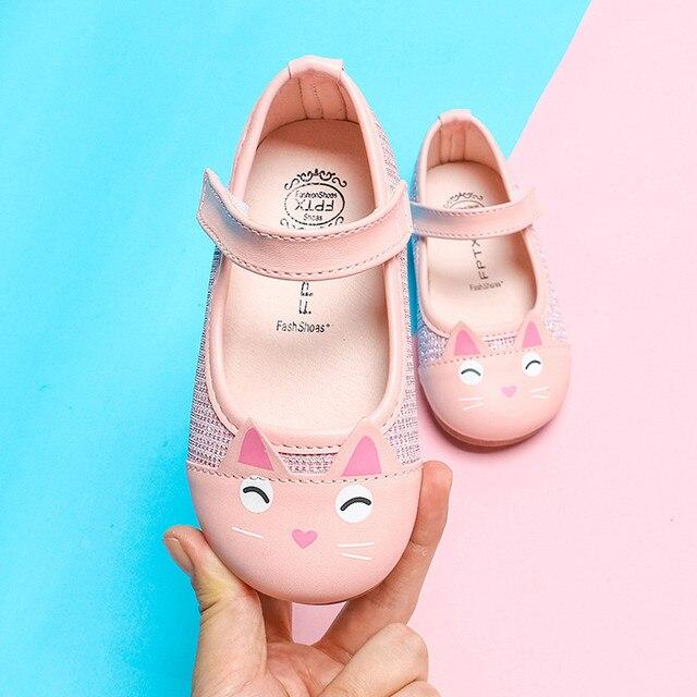 MUQGEW かわいい漫画の猫の女の子子供の革の単一の靴幼児子供のための王女の靴 # XTN