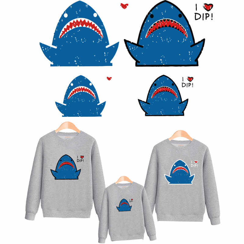 cute shark iron on patches for clothing family ironing stickers on clothes transfert thermocollants t-shirt parches para la ropa